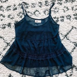 Navy Lace Hollister Tank